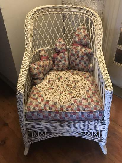 Vintage Wicker Rocking Chair with Patchwork Upholstered Seat & Matching Animals