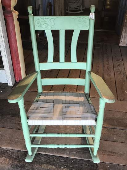Primitive Painted Wooden Rocker with Carved Design