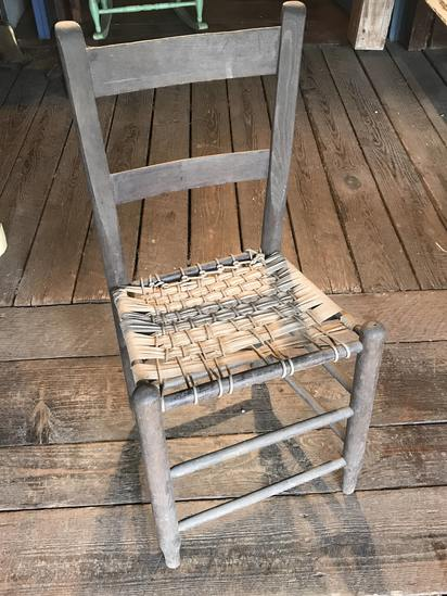 Primitive Wooden Chair with Uniquely Woven Seat