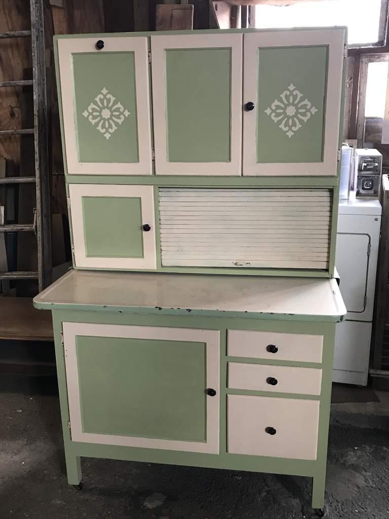 Lot: Vintage Wooden Hoosier Cabinet with Original Flour ...