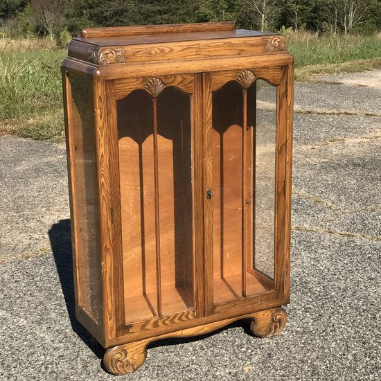Beautiful Carved Wood Locking Curio Cabinet with Skeleton Key