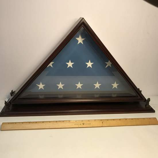 Awesome Wooden Mantle Flag Holder with Brass Eagles