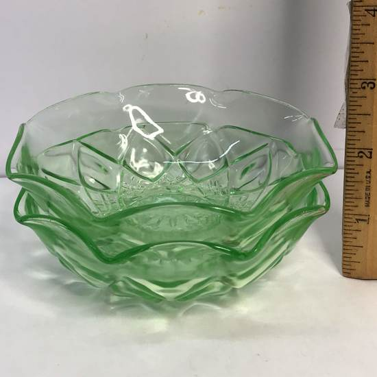 Pair of Vaseline Glass Anchor Hocking Dishes