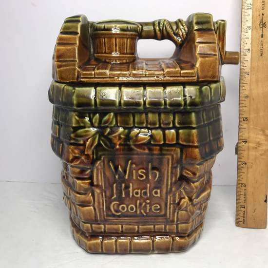 """Vintage Signed """"McCoy"""" Pottery Wishing Well Cookie Jar """"Wish I Had A Cookie"""""""