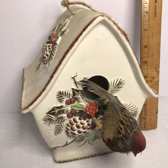 Pretty Ceramic Bird House with Embossed Pine Cones & Bird