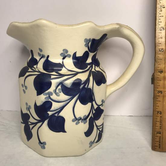 Hand Painted Signed Blue Ridge Pottery Pitcher with Blue Floral Design