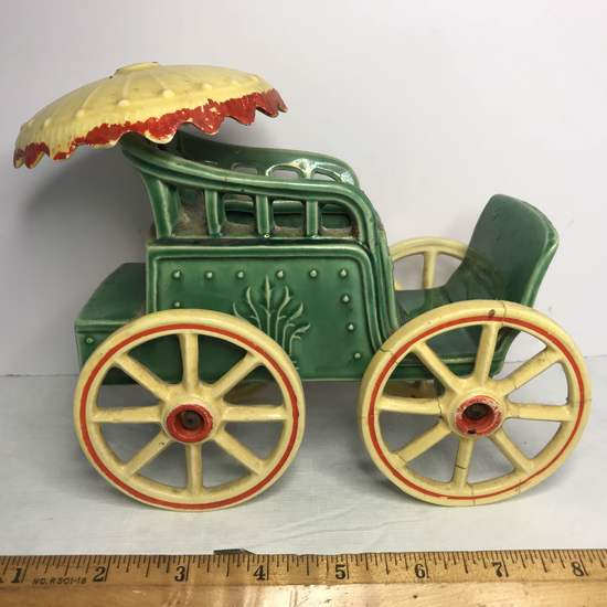 """Vintage Signed """"McCoy"""" Pottery Carriage Planter with Umbrella"""