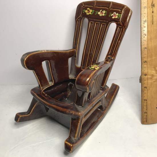 """Vintage Signed """"McCoy"""" Pottery Rocking Chair Planter"""