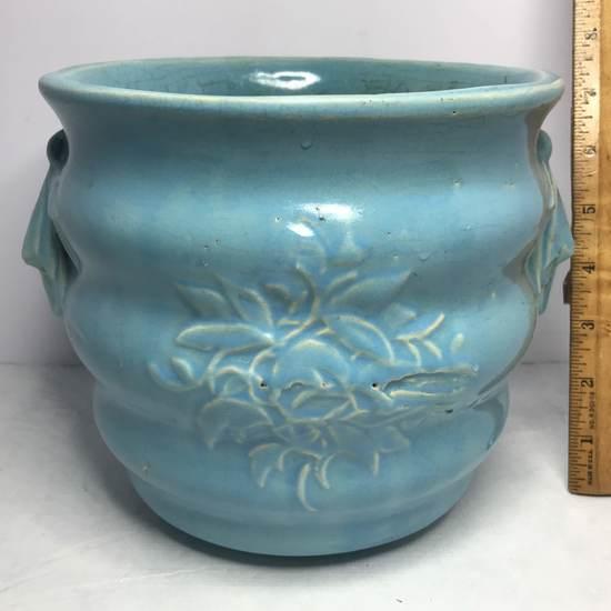 """Vintage Signed McCoy"""" Ribbed Blue Planter with Embossed Floral Design"""
