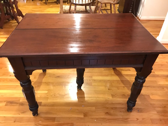 Impressive Antique 5 Leg Dining Table with 4 Leafs on Casters with Protective Pads