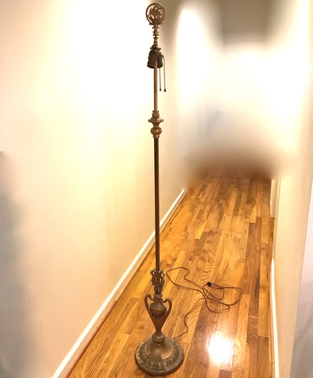 Vintage Brass Finish Floor Lamp with Cast Iron Base with Ship Finial & Shade