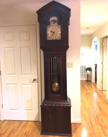 Beautiful 1970's Heavy Wooden Grandfather Clock