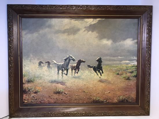 """Vintage Framed Print """"Free As the Wind"""" by August Albo"""