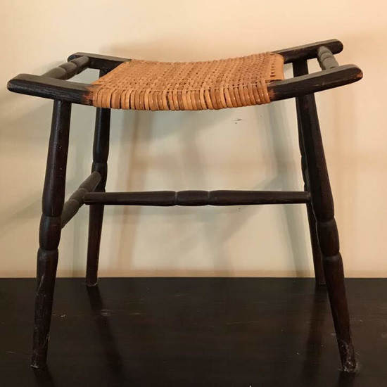 Vintage Wooden Curved Stool with Woven Seat
