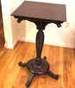 Amazing Antique Hand Carved Tall Rotating Pedestal Table