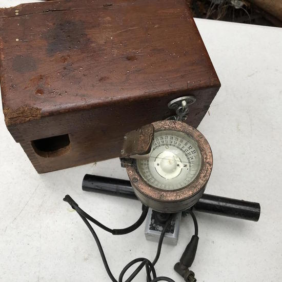 Brookes & Gatehouse Heron DF Aerial Navigation Compass in Wooden Box Altered to Fit Compass