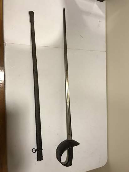 Impressive Antique Sword with Etched Crossed Swords on