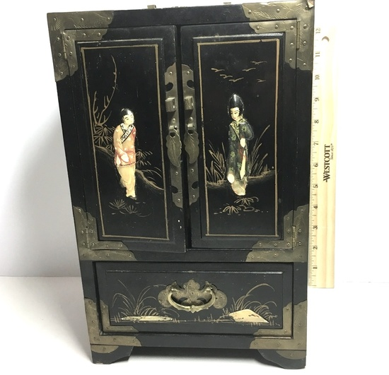 Vintage Oriental Black Lacquer Jewelry Chest with Brass Corners & Accent