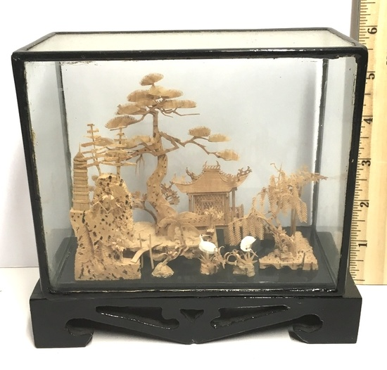 Vintage Cork and Glass Oriental Diorama with Black Lacquer Base.