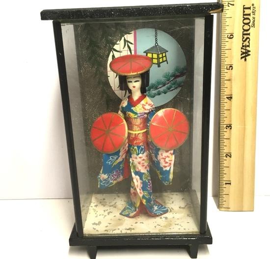 Vintage Oriental Geisha Girl in Glass and Metal Display