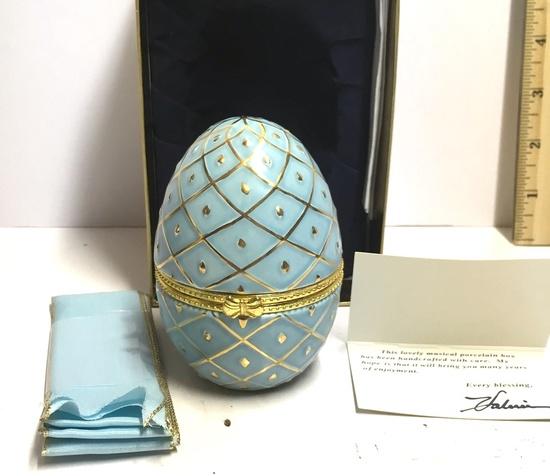 Porcelain Musical Egg Box by Valerie