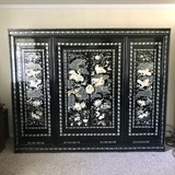 Stunning Large Black Lacquer Three Section Wardrobe with Mother-of-Pearl Inlay From Korea