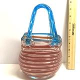 Purse Shaped Decorative Art Glass Basket