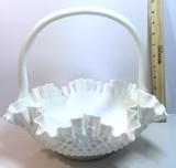 Vintage Hobnail Milk Glass Basket with handle & Ruffled Edge