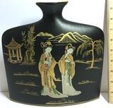 Ceramic Oriental Slender Vase with Gilt Accent
