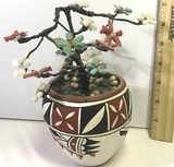 Small Decorative Coral & Jade Floral Tree in Native American Pottery Pot