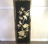Vintage Black Lacquered Oriental Panel with Pearl Inlay