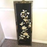 Vintage Black Lacquered Oriental Panel with Mother-of-Pearl Inlay