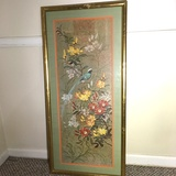 Oriental Print Matted and Framed in Gilded Bamboo Frame