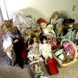 Large Lot of Misc Porcelain & Collectibles Dolls and Basket Full of Doll Clothes