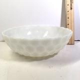 Vintage Hobnail Milk Glass Serving Bowl