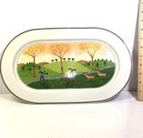 Villeroy & Boch Porcelain Oval Serving Dish with Deer Scene