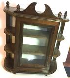 Wooden Countertop Curio Display Cabinet with Glass Door