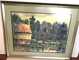 Oriental Framed and Matted Watercolor