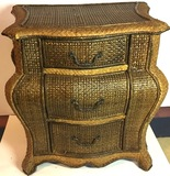 Wicker Covered Wooden 3 Drawer Side Table/ Nightstand
