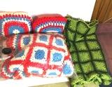 Lot of Hand Crocheted Afgans & Pillows
