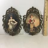 Pair of Himark Portrait Prints in Ornate Brass Frames.