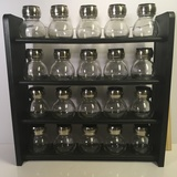 Wooden Spice Rack with Glass and Stainless Steel Bottles