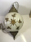 Vintage Mid Century Brass and Frosted Glass Globe Hanging Lamp