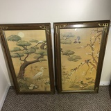 Pair of Oriental Prints in Bamboo Look Wooden Frames with Glass
