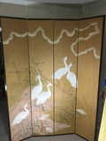 Large 4 Panel Silk Mounted on Wood Folding Screen