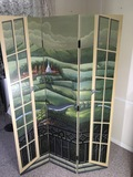 Large Wooden 3 Panel Painted Screen