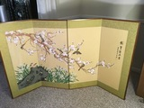 Beautiful Oriental Silk Painted Folding Screen Mounted on Wood