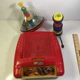 Toy Lot Lite Brite, Spinning Train Top, and LeapFrog Twist and Shout