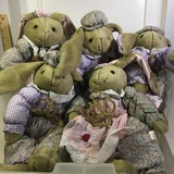 Lot of 5 C. R. Seasons Easter Bunny Stuffed Animals. New with tags. In Hinged Top Carrying Case