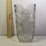 Heavy Etched Crystal Vase